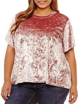 Boutique + + Short Sleeve Split Back Velvet Blouse-Plus