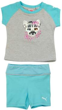 Puma Toddler Girl Raglan Tee and Shorts Set