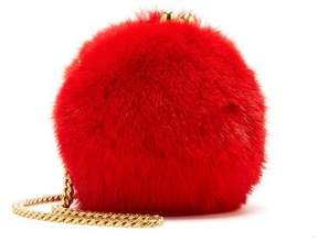 Oscar de la Renta Crimson Mink Billiard Bag