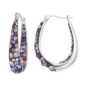 Confetti Purple Crystal Inside Out U-Hoop Earrings