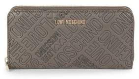 Love Moschino Logo Embossed Zip-Around Wallet
