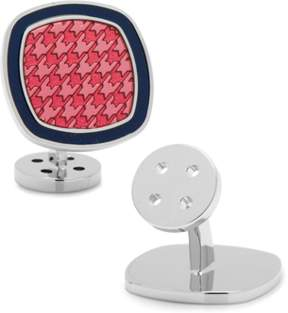Ravi Ratan Palladium Pink And Navy Houndstooth Cufflinks.