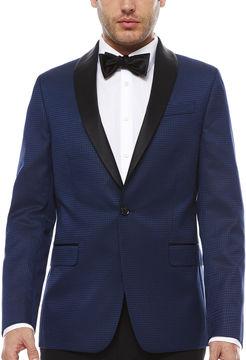 Jf J.Ferrar JF Stretch Blue Houndstooth Tuxedo Jacket- Slim