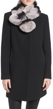 1 Madison Women's Wool Blend Coat With Removable Genuine Rabbit Stole