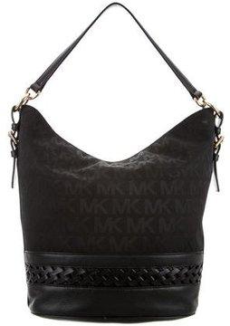 MICHAEL Michael Kors Leather-Trimmed Monogram Bag - BLACK - STYLE