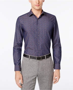 Bar III Men's Slim-Fit Navy Wine Floral Dress Shirt, Created for Macy's