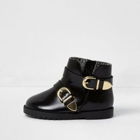 River Island Mini girls black patent double buckle boots