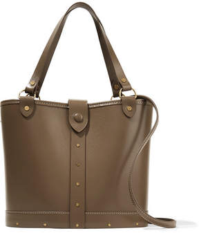 The Row Leather And Wood Shoulder Bag - Mushroom