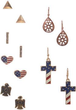 Carole Six-Pair Stars & Stripes Cross Earrings Set