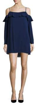 WAYF Ruffle Trim Cold Shoulder Dress