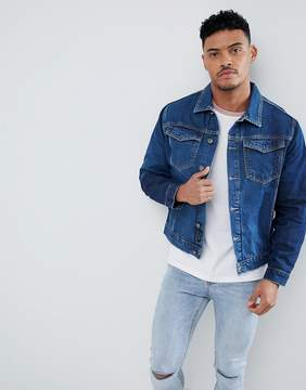 Religion Blue Denim Jacket With Placement Washes