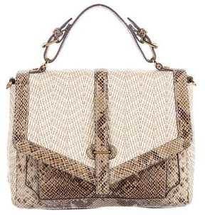 Tory Burch 797 Embossed Leather-Accented Raffia Satchel - NEUTRALS - STYLE