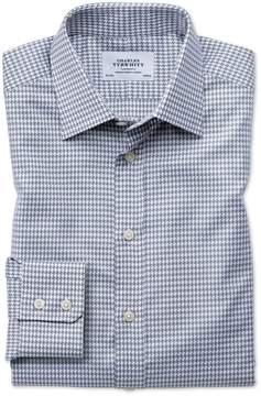 Charles Tyrwhitt Classic Fit Large Puppytooth Light Grey Cotton Dress Shirt Single Cuff Size 15.5/34