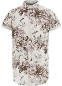 River Island Boys white floral print short sleeve shirt