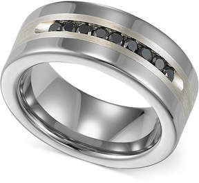 Triton Men's Tungsten and Sterling Silver Ring, Channel-Set Black Diamond Accent Wedding Band