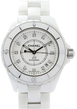 Chanel J12 H1629 Stainless Steel & Ceramic White Dial wDiamond Automatic 38mm Mens Watch