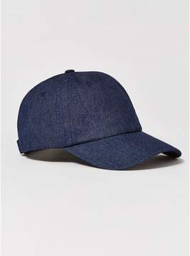 Topman Mens Navy Raw Denim Curve Peak Cap