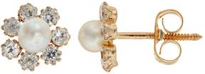 Swarovski Charming Girl Freshwater Cultured Pearl 14k Gold Flower Stud Earrings - Made with Cubic Zirconia - Kids