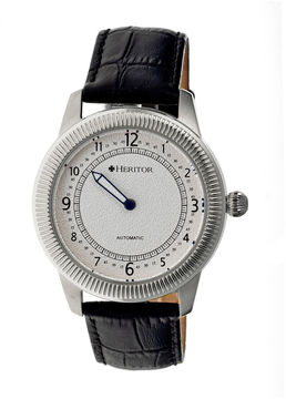Heritor Automatic Hoyt One-Hand Mens Leather-Silver Tone Watch