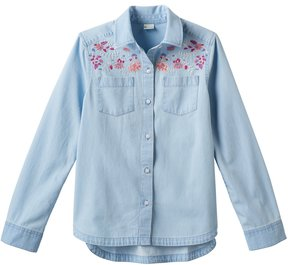 Mudd Girls 7-16 Embroidered Chambray Button-Down Shirt