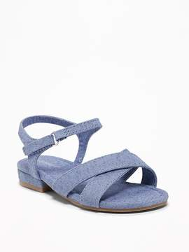 Old Navy Chambray Cross-Strap Sandals for Toddler Girls