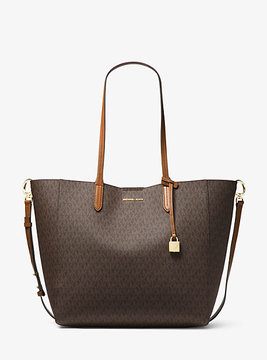 Michael Kors Penny Logo Convertible Tote - BROWN - STYLE