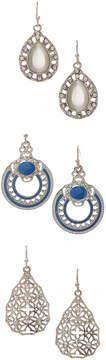 Carole Three-Pair Crystal Drop Earrings Set