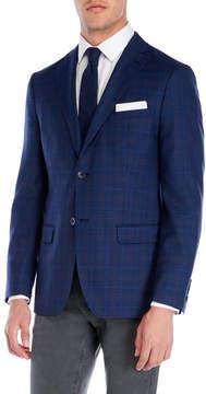 DKNY Dark Blue Plaid Notch Wool Sport Jacket