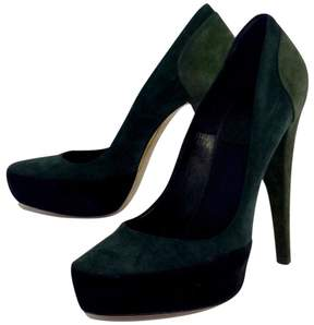 Donna Karan Green & Black Suede Platform Pumps