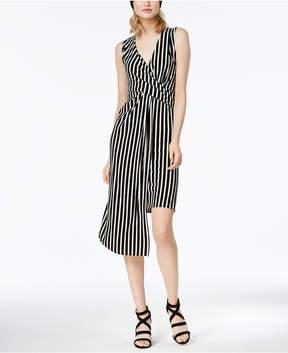 Bar III Striped Asymmetrical Wrap Dress, Created for Macy's