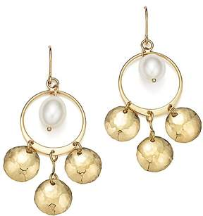 Bloomingdale's Cultured Freshwater Pearl & Hammered Disc Chandelier Earrings in 14K Yellow Gold - 100% Exclusive