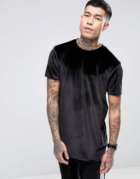 Asos Longline Velour T-Shirt In Black