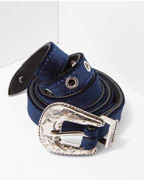 7 For All Mankind | B-Low The Belt Baby Frank Velvet Belt In Navy And Silver | M
