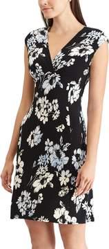 Chaps Petite Floral Surplice Faux-Wrap Dress