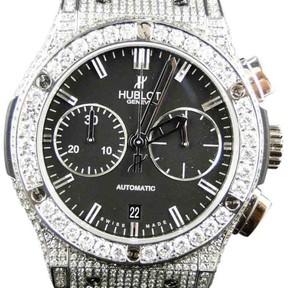 Hublot Big Bang Leather Band Genuine 10.5 Ct Diamond Mens 44mm Watch