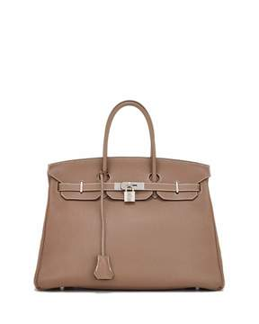 Hermes Vintage Clemence Birkin Leather Satchel Bag, Gray - GRAY - STYLE
