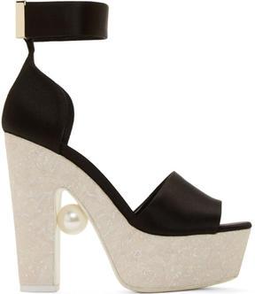 Nicholas Kirkwood Black Satin Pearl Platform Sandals