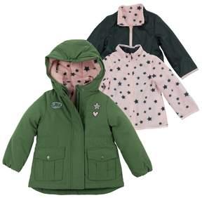 Osh Kosh Girls 4-6x Heavyweight Star Pattern Fleece-Lined 4-in-1 Systems Jacket