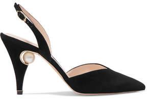 Nicholas Kirkwood Penelope Embellished Suede Slingback Pumps - Black