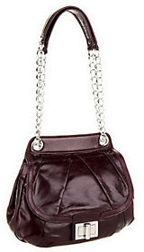 B. Makowsky As Is Devon Glazed Leather Flap Satchel w/Chain