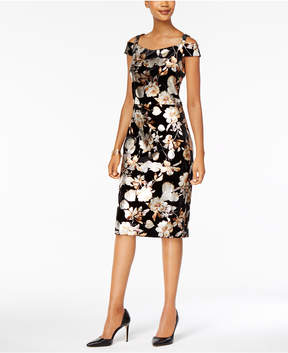 ECI Metallic Floral-Print Velvet Dress