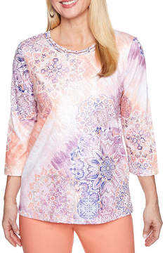 Alfred Dunner Los Cabos 3/4 Sleeve Crew Neck Medallion T-Shirt-Womens