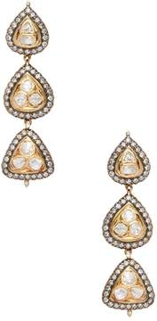 Amrapali Women's 18K Yellow Gold, Silver & 4.30 Total Ct. Diamond Triple Drop Earrings