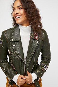 Driftwood Green Faux Leather Embroidered Moto by at Free People