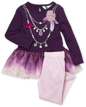 Petit Lem Infant Girls) Two-Piece Metallic Tulle Top & Leggings Set