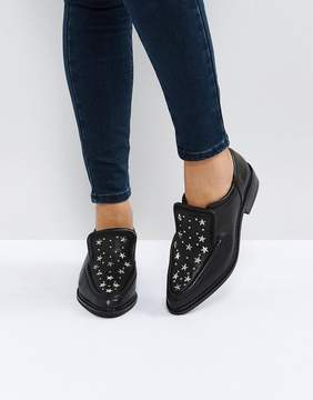 Sol Sana Nancy Black Star Studded Leather Flat Shoes
