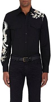 Ralph Lauren Purple Label Men's Dragon-Embroidered Wool Shirt