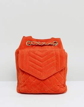 Glamorous Quilted Velvet Backpack in Burnt Orange