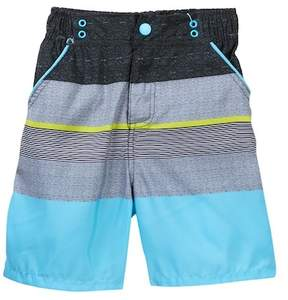 Andy & Evan Teal Striped Swim Shorts (Toddler & Little Boys)