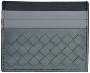 Bottega Veneta Blue and Grey Intrecciato Card Holder